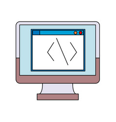 screen monitor computer coding programmer vector image