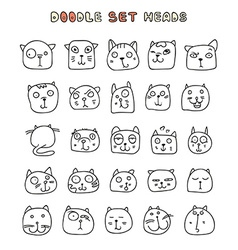 Set 25 doodle cats with different emotions vector image