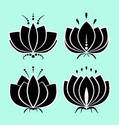 set black lotus silhouette with white contour vector image