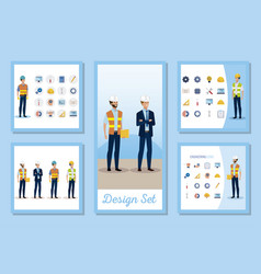 Set designs engineer men with set icons working vector