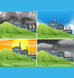 set of factory scene vector image