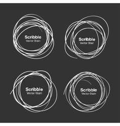 Set of White Hand Drawn Scribble Circles vector image