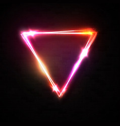 shining triangle neon sign on black brick texture vector image