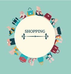 Shopping Background of Women bags and shoes vector