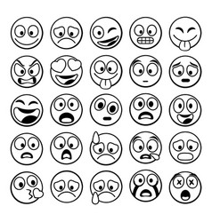 Sketch black sing set emoji vector