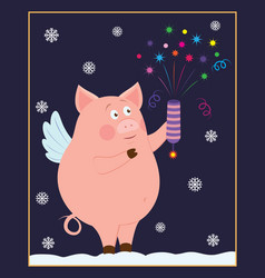 small funny piggy with fireworks vector image