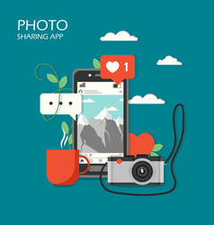 social photo sharing app flat vector image