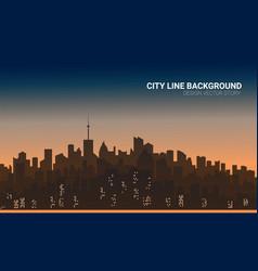 sunset city silhouette background skyline vector image