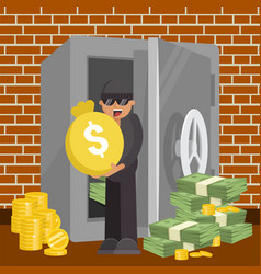 Thief with money from safe vector