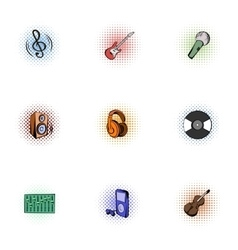 Tools for music icons set pop-art style vector