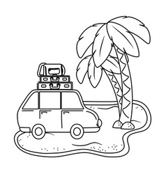 Tourist trip summer travel in black and white vector