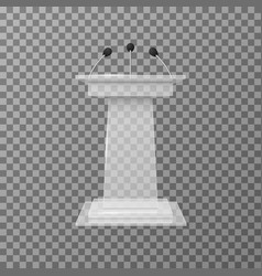 Transparent lecture speaker podium tribune vector