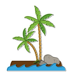 tree palms with rocks vector image
