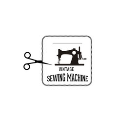 vintage sewing machine logo vector image