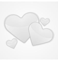 White hearts on a white background vector