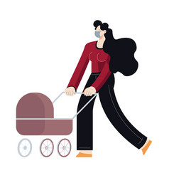 Woman walking in medical mask with baby carriage vector