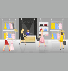 Women in a fancy store people trying on clothes vector