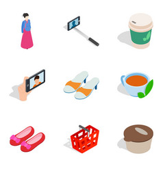 Women shop icons set isometric style vector