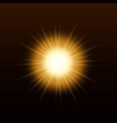 yellow sun with rays and glow vector image
