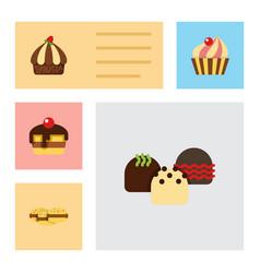 flat cake set of sweetmeat cupcake cake and vector image vector image