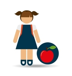 girl uniform school apple icon vector image