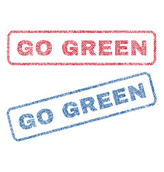 go green textile stamps vector image vector image