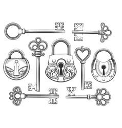 Hand drawn vintage key and lock set vector image vector image