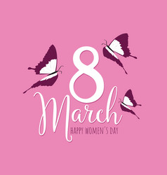 happy womens day 8 march floral greeting card vector image vector image
