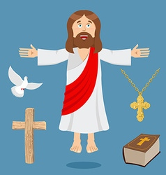 Jesus and accessories Holy biblical set Son of God vector image