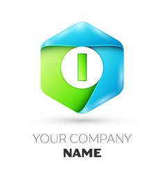 Letter i logo symbol in colorful hexagonal vector