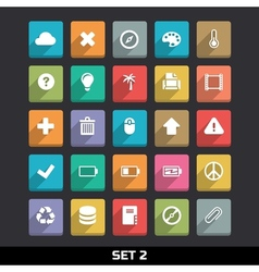 Trendy icons with long shadow set 2 vector