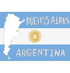 argentina border shape flag on background and hand vector image