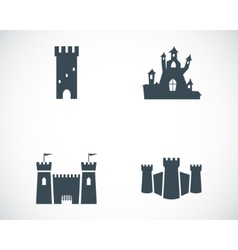 black castle icons set vector image vector image