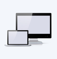 black monitor and notebook with white screen vector image vector image