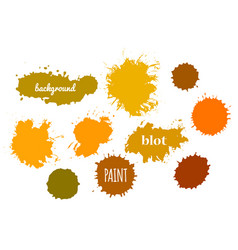 collection orange paint splash set of vector image