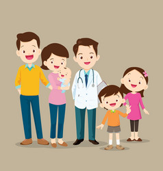 Cute family with baby and doctor vector