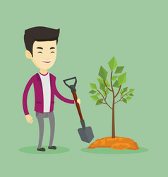 man plants tree vector image vector image