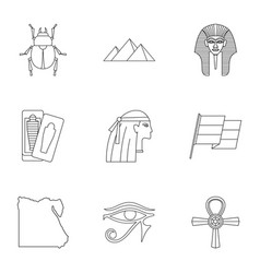 egypt travel icons set outline style vector image
