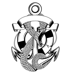 snake anchor and ring buoy vector image vector image