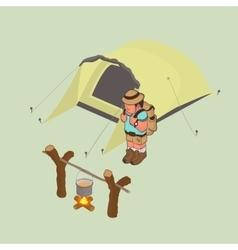 tourist with a backpack on his back Isometric vector image vector image