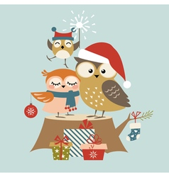 Christmas owl family vector image vector image