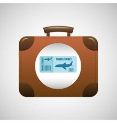 Concept travel suitcase vintage and tickets plane vector