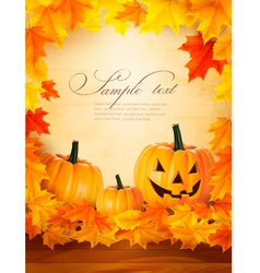 Pumpkin background with leaves halloween vector