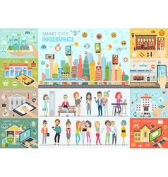Smart City Infographic set vector image