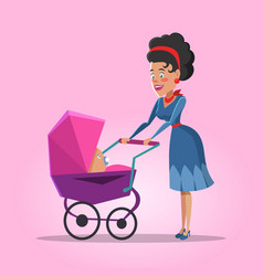 young mother with newborn baby vector image