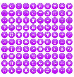 100 summer icons set purple vector