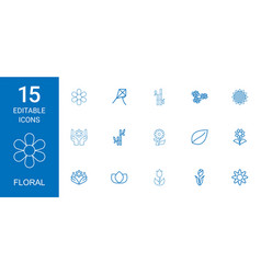 15 floral icons vector