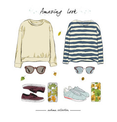 A set of autumn outfit with accessories yellow vector