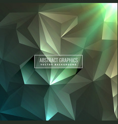 Abstract low poly triangle background in green vector