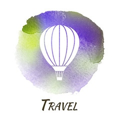 Air Balloon Travel Watercolor Concept vector